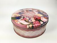 Vintage - Sewing Sew Storage Tin Storage Box Container  - Pink White Lace