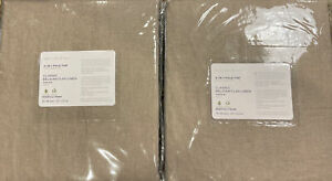 (2) Pottery Barn Classic Belgian Flax Linen Drapes  - 50 x 84 - Dark Flax - NEW