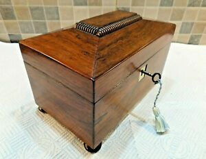 LATE GEORGIAN ROSEWOOD SARCOPHAGUS TEA CADDY BOX- ORIGINAL INTERIOR- LOCK & KEY