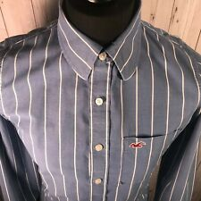 Hollister Blue and White Striped Shirt - Men's Size Medium - Great Condition