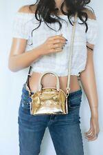 NWT Michael Kors Emmy Dome MINI Mirror Metallic Satchel Crossbody Bag Rose Gold