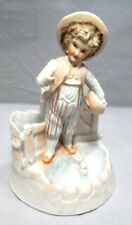 "Antique German Porcelain Bisque Boy in Peach Tone Planter 8"" Figurine"
