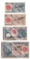 Serie Banconote da 1 2 5 e 10 Lire Venezia Giulia e Venezia Tridentina 1915 QFDS