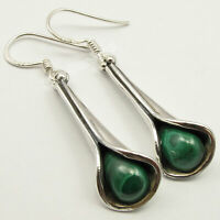 "925 Solid Silver Malachite Oxidized Dangling Earrings 1.7"" Gemstone Gift"