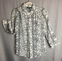 ANA A New Approach Sheer Snake Pattern Women's Button Up Blouse Size M