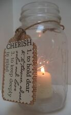 8 Rustic Mason Jar Ivory Cherish Burlap Wedding Candle Decorations AU33