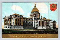 Jackson MS, State Capitol, Gold Embossed, Seal, Vintage Mississippi Postcard