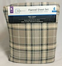 Mainstays King Size Flannel 4 Piece Sheet Set Stripes Cotton Pillowcase Plaid