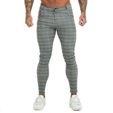 GINGTTO Men Skinny Fit Chino Gray Tartan Stretch Plaid Check Slim Dress Trousers
