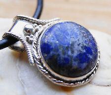 Massiv Kettenanhänger Lapis Lazuli Blau Silber Anhänger Handarbeit Antik Pyrit