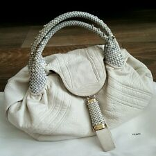 Auth Fendi Spy Bag with Woven Handles & Hidden Compartments, White Nappa Leather