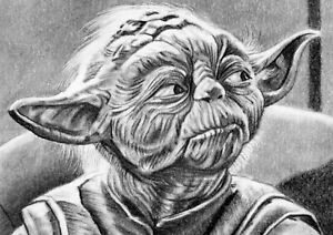 ORIGINAL ACEO sketch card STAR WARS Master Jedi YODA