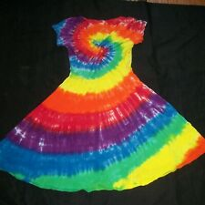 Tie Dye Woman's Twist Front Dress Large Rainbow Spiral Tye Dyed Hippie