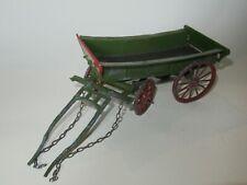 "Vintage diecast & tinplate 8"" long horsedrawn farm trailer"