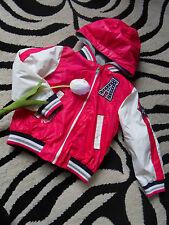 2 in 1 Frühling Anorak Blouson Jacke Collegejacke 104 C&A Kapuze pink weiß NEU