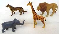 Vintage Lot of 4 CHINA Africa Safari Animal Elephant Cheetah Lion Giraffe Toys