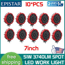 10X 7inch 51W Offroad Slim LED Work Light Round Spot Pods SUV Driving Truck Red