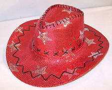 SEQUIN RED STAR COWBOY HAT western sparkle costume cap