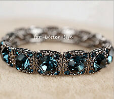 18K White Gold GP Blue Austrian Crystal Strechable Jewelry Braclet Bangle AC207