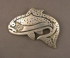 Signed Sterling Silver Fish Brooch Pendant Possibly Southwest from Estate