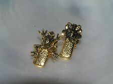 Loaded Clips with Bumblee Bee Insect & Estate Lot of 2 Small Goldtone Spring