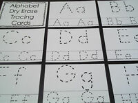 """26 Alphabet laminated dry erase cards.   Preschool letter tracing. 4"""" X 5""""."""
