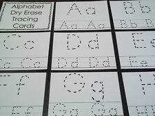 "26 Alphabet laminated dry erase cards.   Preschool letter tracing. 4"" X 5""."