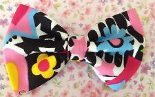 "HANDMADE SMALL 3"" MULTICOLOUR 60s FLOWER PRINT COTTON FABRIC RETRO BOW HAIR CLIP"