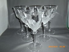 """6 Cristal D'Arques J G Durand Florence Pattern Frosted Petal Wine Glasses 6 3/4"""""""