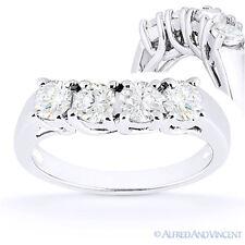 Round Cut Forever Brilliant Moissanite 14k White Gold Curved Wedding Ring Band