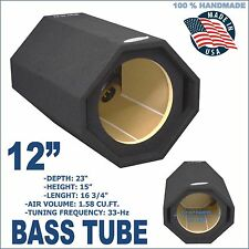 "BASS TUBE 12"" PORTED SUB BOX PRO VENTED SUB WOOFER ENCLOSURE GROUND-SHAKER BOX"