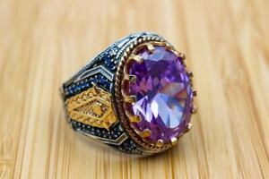 Amethyst Men's Ring with Blue Sapphire in 14kt Two-Tone Gold Over Ottoman Ring