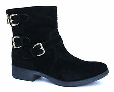 Pier One UK 6 (EU 39) Womens Black Suede Leather Triple Buckle New Ankle Boots