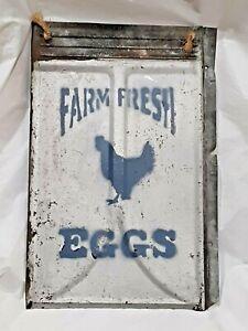 🐓Fresh Eggs Paint Farm Hen House Chicken Coop Rustic Decor Tin Sign