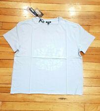 NEW Buffalo Women's Wild Dreamer Retro T Shirt Top Light Blue Silver Logo S UK10