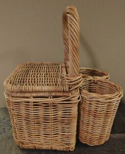 Vintage Wicker Rattan Straw Picnic Basket With Wine Compartments Holders