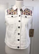 Ruff Hewn Women's Vest White Denim Embroidered Button Front Petite Medium