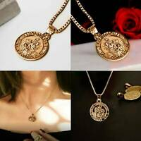 Solid Bright gold Coin necklace Plated Necklace Pendant Chain Pendant UK