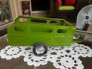 Vintage Nylint Metal Pressed Steel Utility Trailer Green Farm Wagon Hitch Wheels