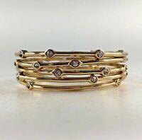 New Set 5 Erica Lyons Bracelets Bangles Gold Tone Rhinestone Party Gift NWT