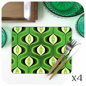 70s Op Art Placemats 4, Mid Century Green Placemats, Retro Placemats, 70s decor