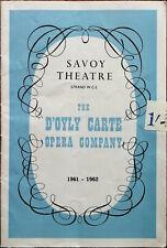 D'oyly Carte Opera Company Gilbert & Sullivan 1961-62 Savoy Theatre Programme