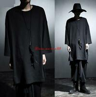 Mens Cape Gothic Stylish Long Coat Punk Asymmetric Hooded Cloak Black Shirts