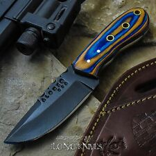 ALONZO KNIVES USA CUSTOM HANDMADE TACTICAL NECK 1095  KNIFE CAMEL BONE 18876