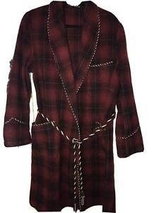Grenville Vintage Mens Wool Smoking Jacket Dressing Gown L/XL Red Black Check