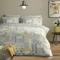 100% Brushed Cotton Modern Patchwork Duvet Cover Set Single Bed in Grey & Ochre