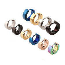 Fashion Women's Men's Stainless Steel Hoop Loop Huggie Ear Stud Earrings Punk