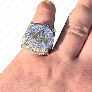 Men's Large Solid 10K Gold 3ct Simulated Diamond Masonic Mason RING
