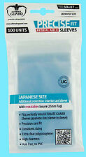 100 ULTIMATE GUARD PRECISE FIT RESEALABLE JAPANESE SIZE Small Card SLEEVES Clear