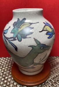 Pottery Barn Iznik  Crackleware Crazed Antiqued Vase Stag Deer Birds Flowers EUC